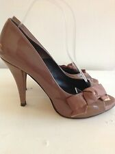 Kurt Geiger Peep Toe Shoes Size 5 Caramel Patent Leather Sole Bought For £150