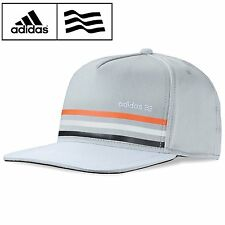 ADIDAS GRAY CHROME WARNING STRIPE FLAT BILL HAT FLEX FITTED CAP UV PROTECTION