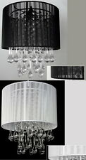 Black or White with non-iridescent Raindrop Drop Crystals CHANDELIER w/Light Kit
