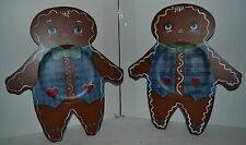 Vintage Hand Painted Gingerbread Wood Trays Platter Cookies Lot of 2