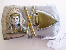 BELT BUCKLE VINTAGE NATIVE AMERICAN INDIAN, ARROYO GRANDE BUCKLE CO MAKER NA-3