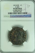 1810/09 LARGE CENT! NGC VF DETAILS! S-281! 1C!US COIN LOT #2520