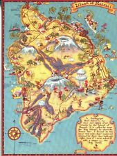 POST CARD OF AN OLD TOURIST MAP OF THE BIG ISLAND OF HAWAII, HAWAII