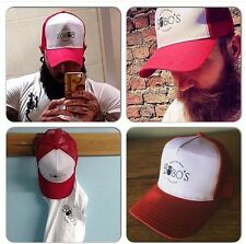 A Bobos Beard Company Red Trucker Baseball Cap Hat Snapback
