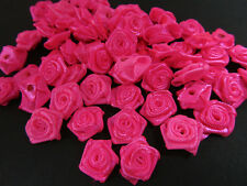"40 Neon Pink Hand Made Ribbon Rose 1/2"" Flower Applique/Craft/trim/dress/sew F72"