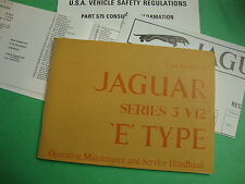1717 New Jaguar V12 S. 3 XKE USA  Specification Owners Manual
