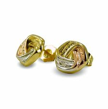 9ct Gold Filled Love Knot Stud Earrings Yellow White Rose Lightweight 9KGF BE894