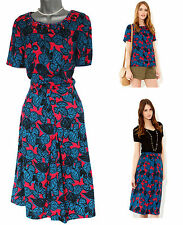 *MONSOON*Hot Red/Blue Estella Floral Print Skirt & Top Suit sz12 EU40 £95