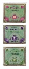 "SET DE 3 BILLETS 1944 ""Allied Military Currency"" (REPRODUCTION)"