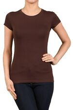 CREW/ROUND NECK Short Sleeve Women/Junior Solid Top Cotton T Shirt S-XL