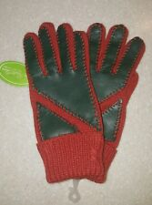 NWT Van Realte Orange Green Knit LEATHER GLOVES Retro Vintage Women's  stretchy