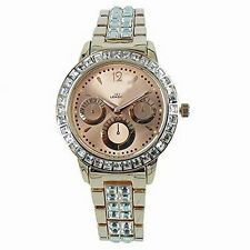 NY London Femmes Diamante Or Rose Chronographe Métal Analogique Montre Quartz