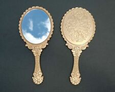 Vintage Style Antique Gold Hand Held Vanity Mirror Acrylic USA