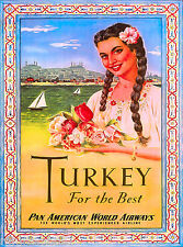 Beautiful Girl Turkey Turkish Airplane Vintage Travel Art Advertisement Poster