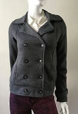Roxy Jacket Double-Breasted Heavyweight Knit Lined 2 Pocket Charcoal Size XS