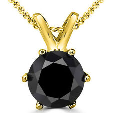 0.25 Carat 14K Yellow Gold Black Diamond 6 Prong Solitaire Necklace & Chain