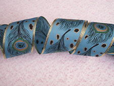 Blue Peacock Ribbon, Wired, CHRISTMAS DECOR, MARDI GRAS, BOWS, WREATHS, 3 Yards