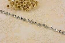Floral Rhinestone Applique Crystal Trim Diamante Motif Bead Wedding Accessories