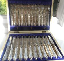 Superb Cased 24 Pce Antique Silver Plated William Hutton & Sons Dessert Set 1880