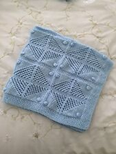 NEW Hand-Made Baby Boys Blue Knitted Pattern Blanket - James C Brett Wool Yarn