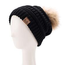 New Women Winter Wram Beanie Wool Knitted CRYSTAL Ladies Floppy Pom Pom Hat A404