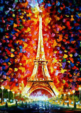 "Paris, Eifel Tower Lighted  —  Oil Painting On Canvas By Leonid Afremov 30""x40"""