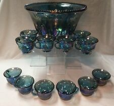 Vintage Indiana Blue Iridescent Carnival Harvest Grape Punch Bowl & 12 Cups Set