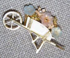 VINTAGE GT COLORFUL CZECH ART GLASS FLOWERS ON WHEEL BARREL W/SPINNING WHEEL PIN