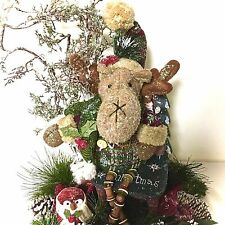 Moose Owl Christmas Table Arrangement Centerpiece Custom Designed Winter Holiday