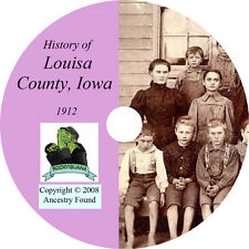 1912 LOUISA County Iowa IA, History & Genealogy -  Wapello Ancestry  - CD DVD