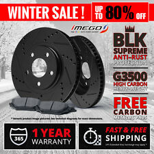 Front Kit | Black | Slotted & Drilled Disc Brake Rotors and FREE Metallic Pads