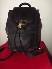 Mazzantia buttery soft, glove leather black back pack  gold tone pebble ITALY