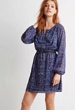 NWT New Forever 21 Contemporary Abstract Peasant Dress Blue Pink Extra Small XS