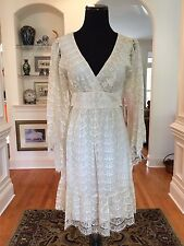 BETSEY JOHNSON Empire Waist Back Tie Bell Sleeve Ivory/Gold Lace Dress Sz 6 $168