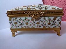 LARGE LIMOGES LA TALLEC HAND PAINTED PORCELAIN TRINKET / JEWELLERY BOX TIFFANY