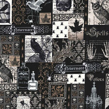 Gothic~Nevermore~Spells~Owls~Edgar Allan Poe~Spiders~Bats~Script~Fabric~1/2 yard