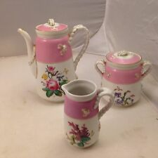 HAVILAND LIMOGES ROSES TEA COFFEE POT CREAMER SUGAR SET PINK BAND HAND PAINTED