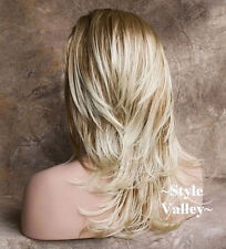 Blonde Mix 3/4 Wig Fall  Hair piece Long straight  with waves at ends Hairpiece