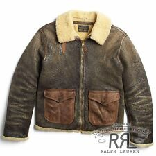 $2800 RRL Ralph Lauren 1940s Shearling Military Flight Leather Jacket Coat-MEN-M
