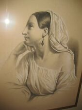 Antique academic style English/Italian drawing of young woman, circa 1820