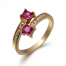 Band Size 9 Gorgeous Ruby 10K Gold Filled Classic Women's Engagement Ring Gift