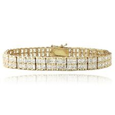 Gold Plated 20ct Cubic Zirconia Double-Row Square Tennis Bracelet