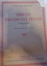 DIRITTO PROCESSUALE PENALE ITALIANO Vol III Vincenzo Manzini Giuridica