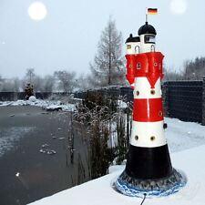 NEU LEUCHTTURM ROTER SAND 120 cm mit DOPPELLICHT rot-weiß Garten Deko Figur Meer