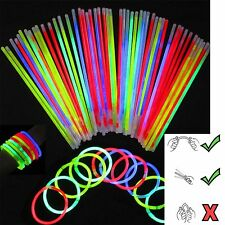 "100 8""Glow Sticks Bracelets Light Neon Colors & 100 Bracelets Connectors"