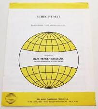 Partition sheet music LIZZY MERCIER DESCLOUX : Echec et Mat * 80's