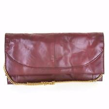 VINTAGE 70's 80's Deep Red Burgundy Faux Leather Clutch Bag Chain Strap Retro