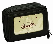 New Buxton Womens Mini Leather Credit Card ID Wizard Wallet Purse Black