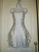 HERVE LEGER SILVER & IVORY STRAPLESS DRESS SIZE M STUNNING! NWT