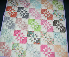 SALE £30.00 OFF HANDMADE QUILT 52''X52'' HAND QUILTED TRADITIONAL QUILT